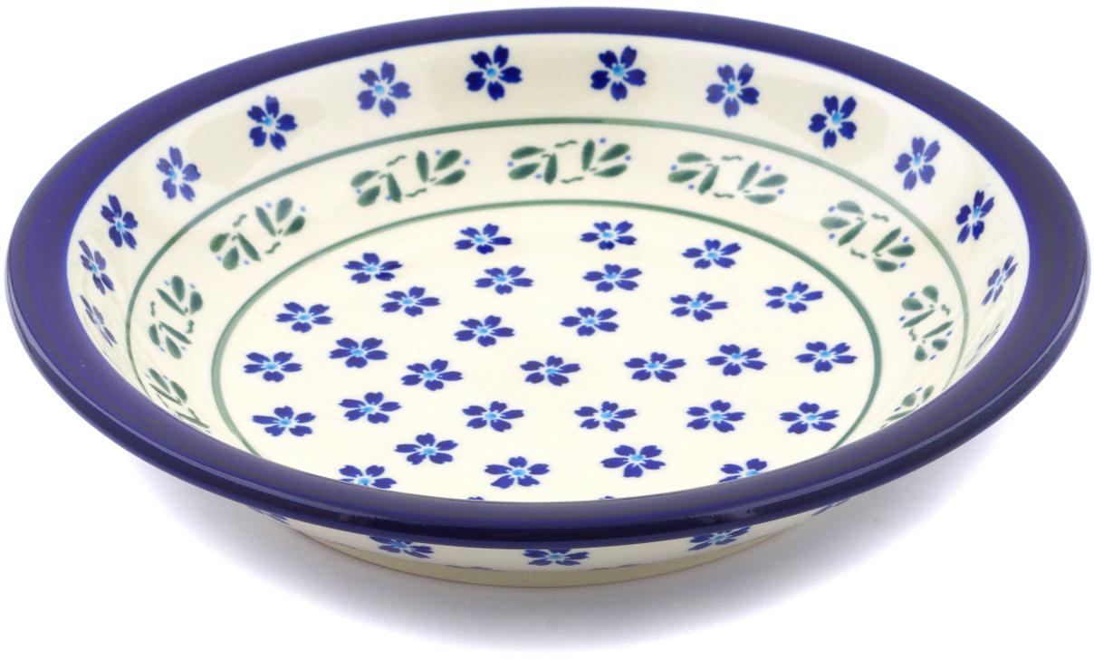 Polish Pottery 9-inch Pasta Bowl (Daisy Field Theme) Hand Painted in Boleslawiec, Poland + Certificate of... by Zaklady Ceramiczne