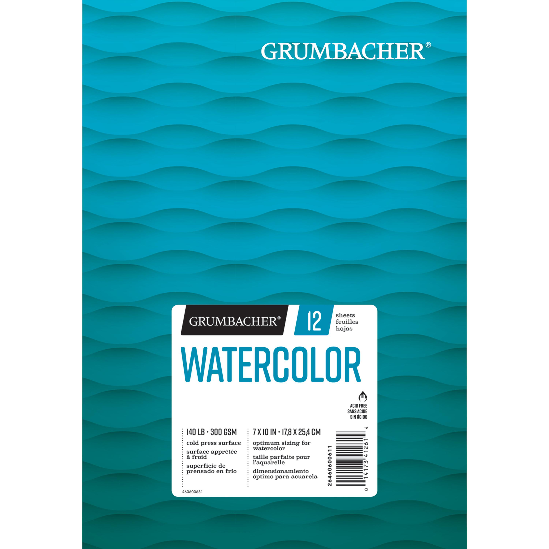 """Grumbacher Watercolor Pad, 7"""" x 10"""", 12 Sheets/Pad"""