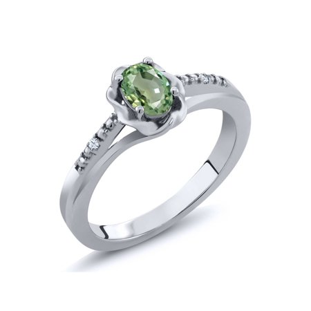 0.57 Ct Oval Green Sapphire White Topaz 925 Sterling Silver Ring