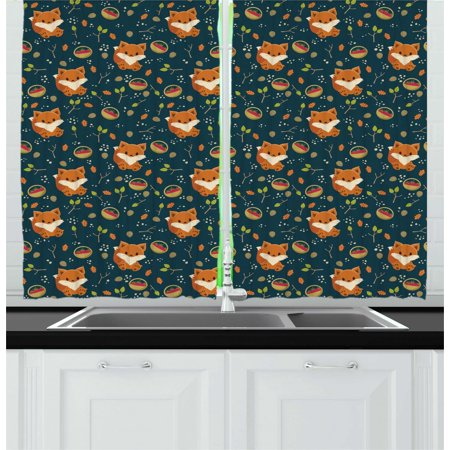 Pine Cone Curtains 2 Panels Set, Cute Baby Fox with Basket of Raspberry Leaf Herbs Forest Animal Childish Cartoon, Window Drapes for Living Room Bedroom, 55W X 39L Inches, Multicolor, by Ambesonne (Raspberry Room)