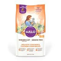 Halo Grain Free Natural Dry Cat Food, Senior Chicken & Chicken Liver Recipe, 6-Pound Bag