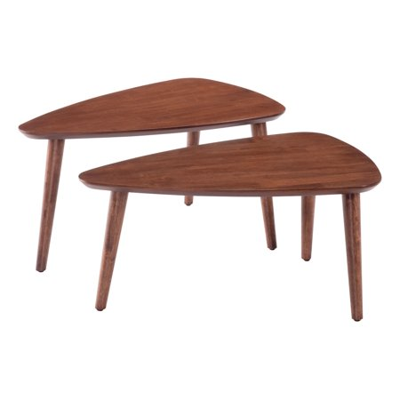 Walnut Veneer Mdf - Modern Contemporary Urban Living Lounge Room Nesting Side End Table, Natural - Walnut Veneer, MDF Rubberwood
