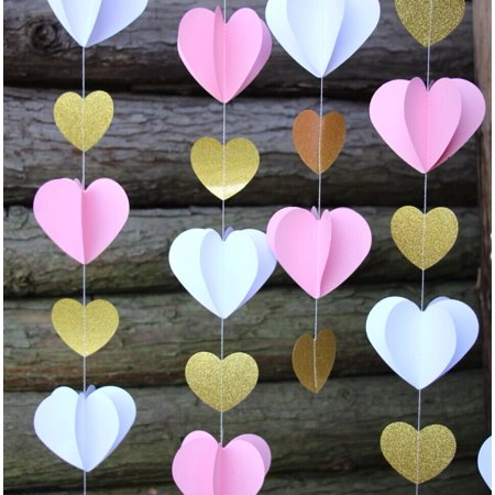 Quasimoon 3D Pink and Gold Heart Paper Vertical Garland Banner (6FT) by PaperLanternStore - Valentine Banner
