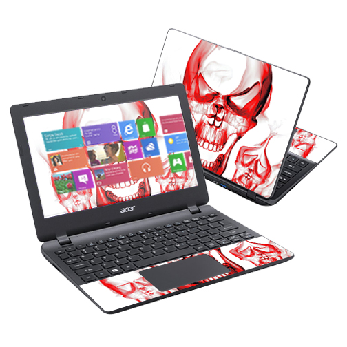 "Mightyskins Protective Vinyl Skin Decal Cover for Acer Aspire E11 ES1 11.6"" Cover wrap sticker skins Melting Skulls"