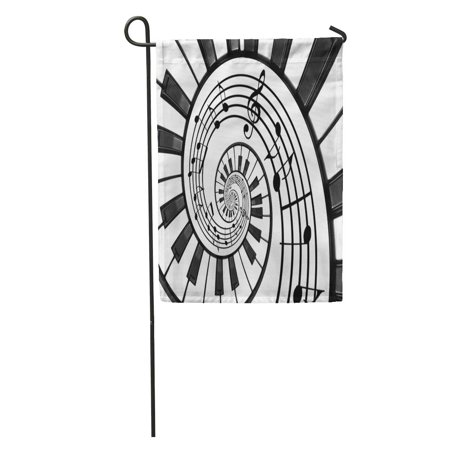 Black Fractal Pattern (KDAGR Piano Keyboard Printed Music Abstract Fractal Spiral Pattern Black Garden Flag Decorative Flag House Banner 28x40 inch )