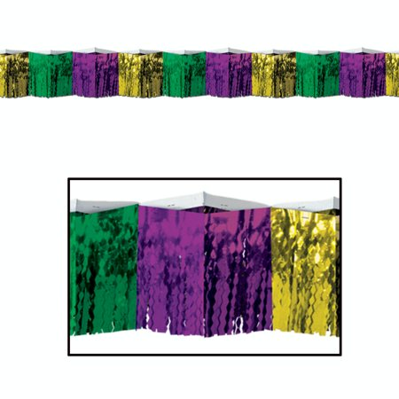 6 Purple, Green and Gold Metallic Fringe Mardi Gras Party Drape Decorations 12'](Mardi Gras Decorations)