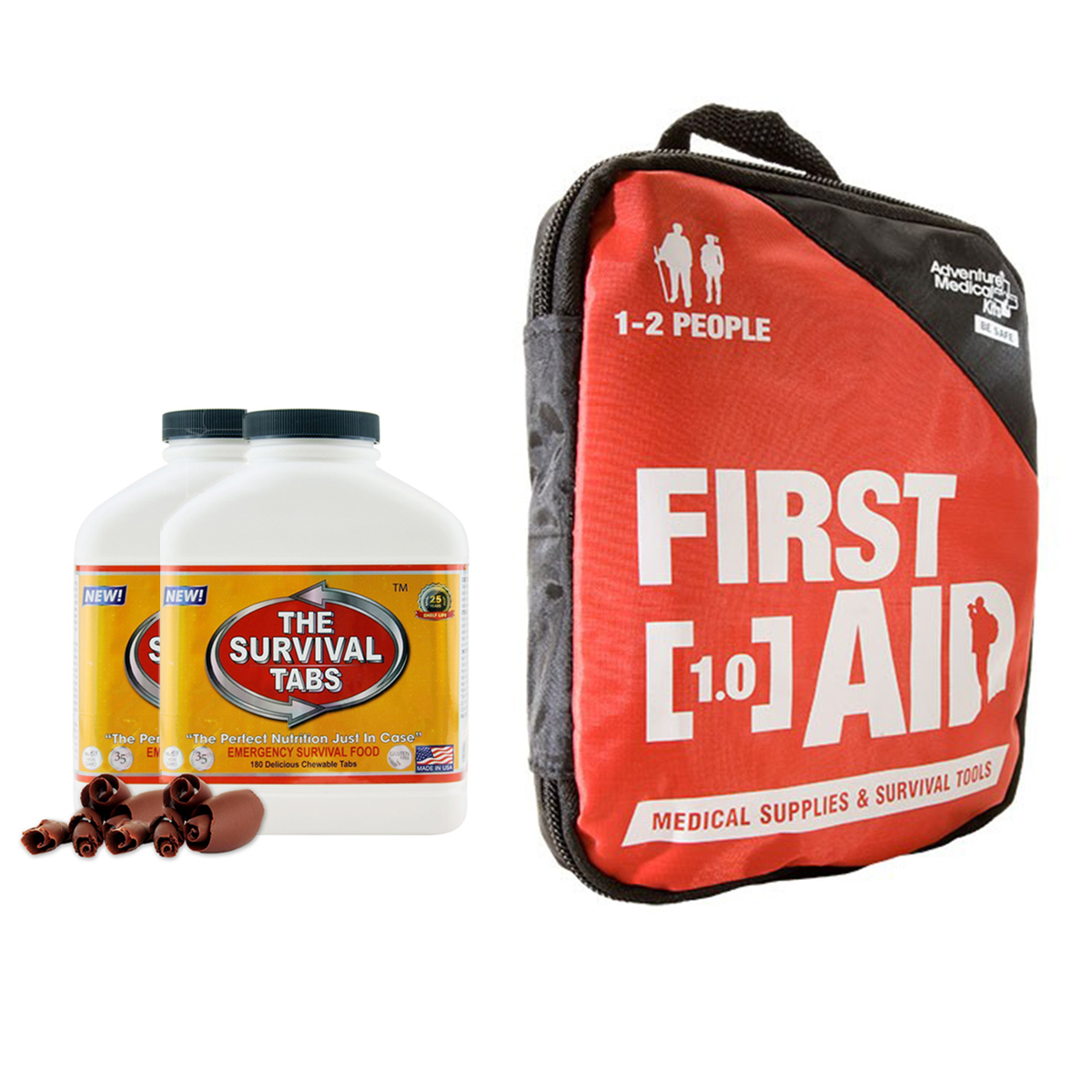 Adventure First Aid 1.0 constant treat for cut sprains insect bites headaches muscle aches, allergic reactions (Kit for 1-2 people) + Survival tabs 30 days Emergency food (360 Tabs/Chocolate)