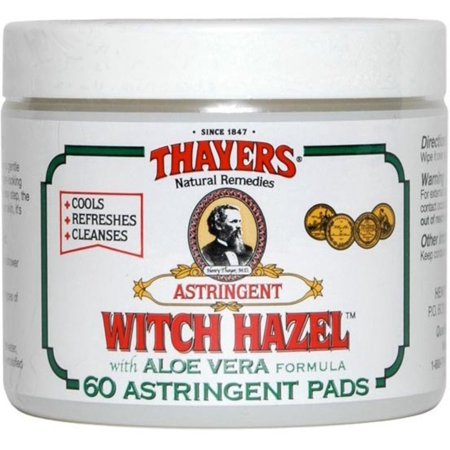 Thayers Witch Hazel Aloe Vera Astringent, Original, 60 (Best Witch Hazel Pads For After Birth)