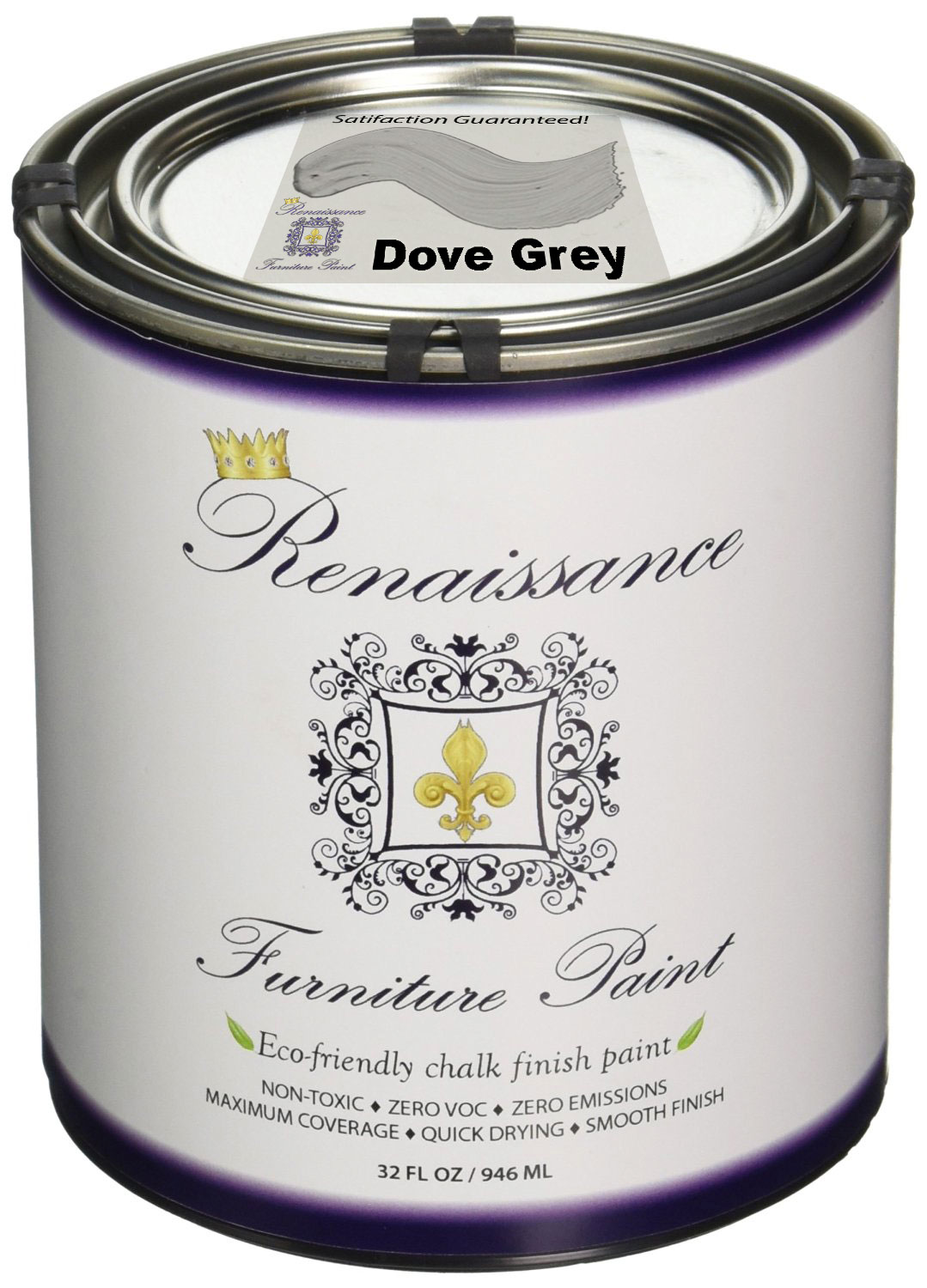 Renaissance Chalk Finish Paint   Dove Grey Quart (32oz)   Chalk Furniture U0026  Cabinet Paint   Non Toxic, Eco Friendly, Superior Coverage   Walmart.com
