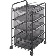 Safco, Onyx Double Mesh Mobile File Cart, 1 Each, Black
