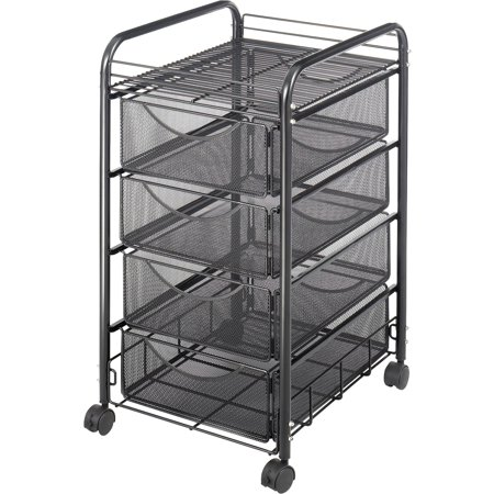 Safco, SAF5214BL, Onyx Double Mesh Mobile File Cart, 1 Each, Black Basics Mobile Technology Cart