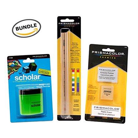 Pencils Colorless Blender (BUNDLE Prismacolor Blender Pencil Colorless, 2-pack + Prismacolor 3 Eraser Set + Prismacolor Scholar Colored Pencil Sharpener )