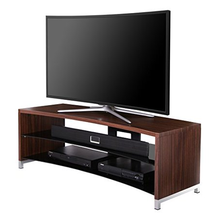 Fitueyes Curved Wooden Glass Tv Stand For Up To 55 Inch Flant Panel