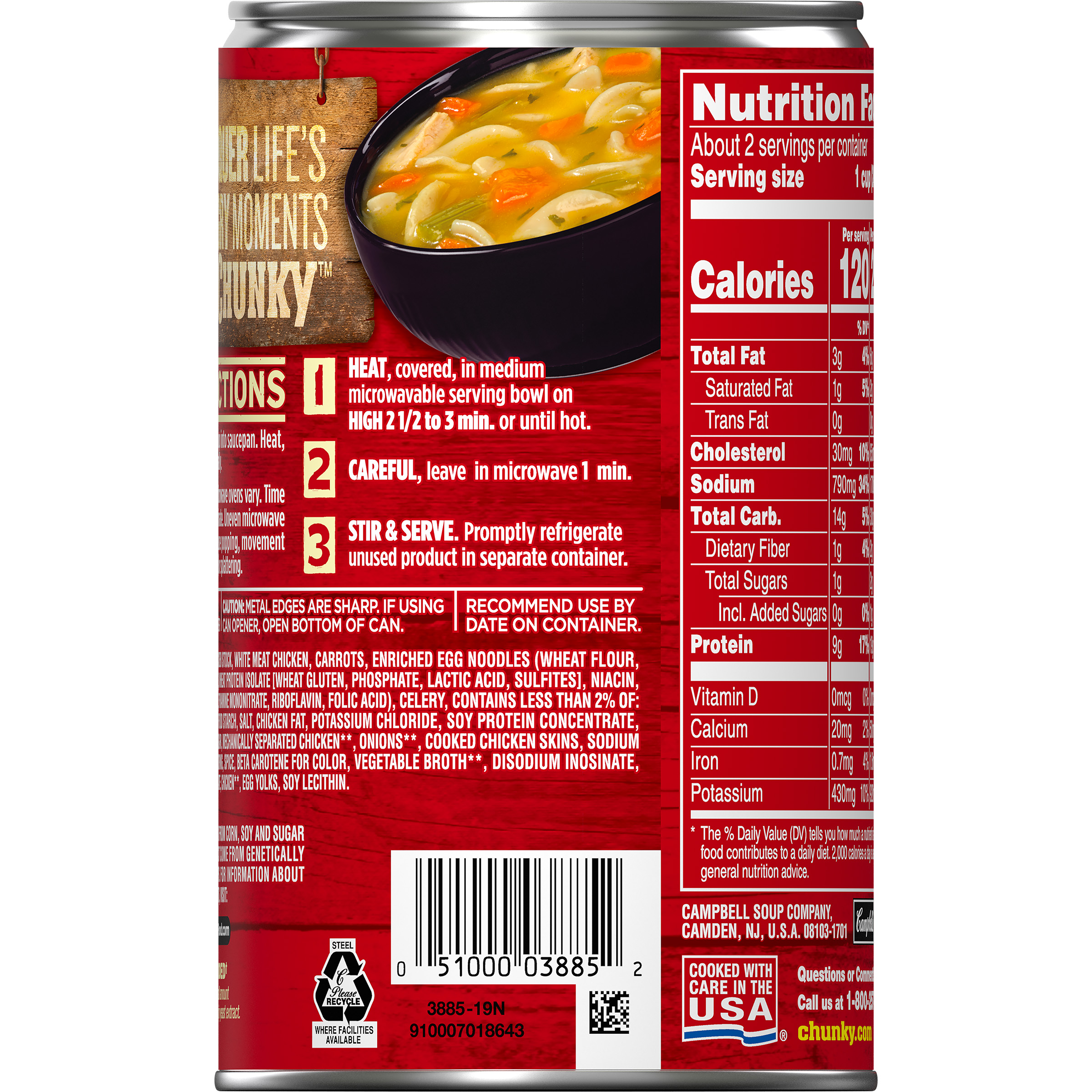 campbell's chunky classic chicken noodle soup, 18.6 oz. - walmart