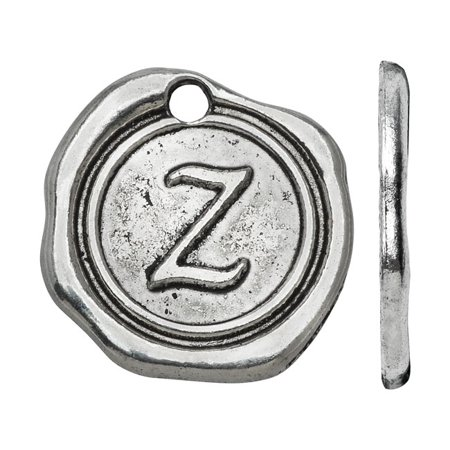 Lead-Free Pewter, Alphabet Charm Wax Seal Letter 'Z' 18.5x19.5mm, 1 Piece, Antiqued (Pewter Seal)