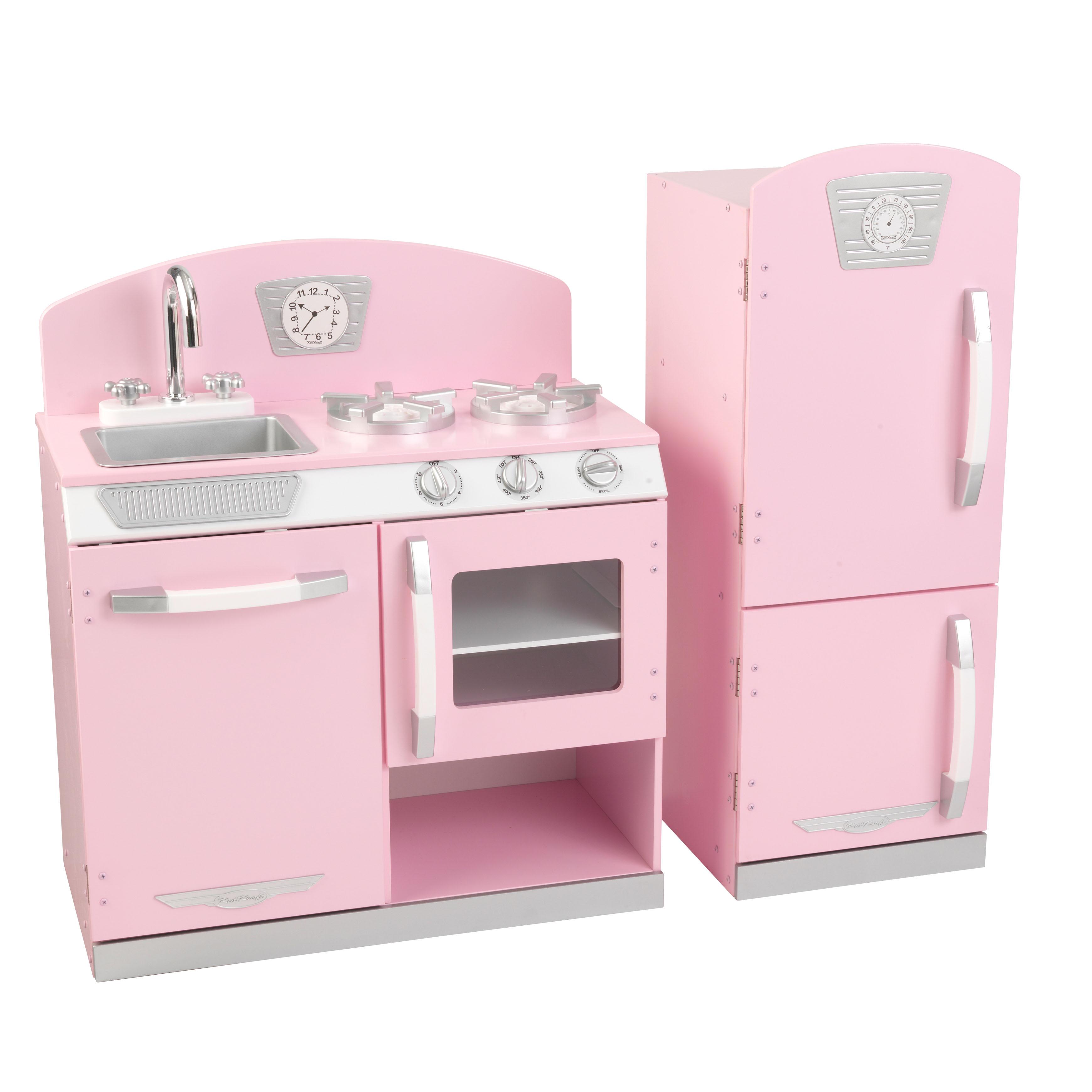 kidkraft pink retro kitchen & refrigerator - walmart