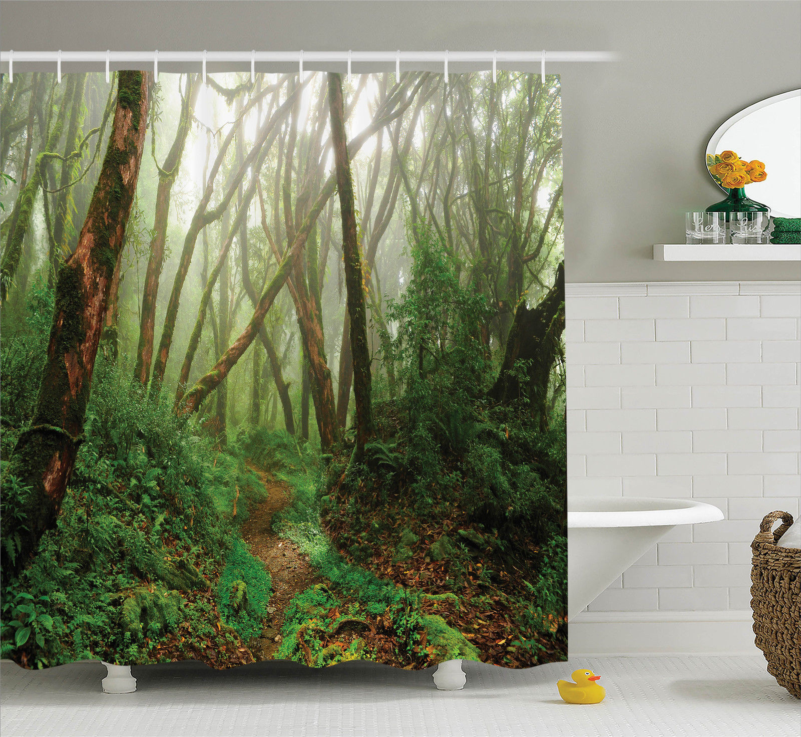 Farm House Decor Shower Curtain Set, Spooky Tropical Exotic Fog Jungle In Rainforest In Nepal Asian Climate Picture Print, Bathroom Accessories, 69W X 70L Inches, By Ambesonne