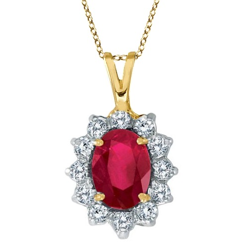 Ruby and Diamond Accented Pendant Necklace 14k Yellow Gold (1.80ctw) by