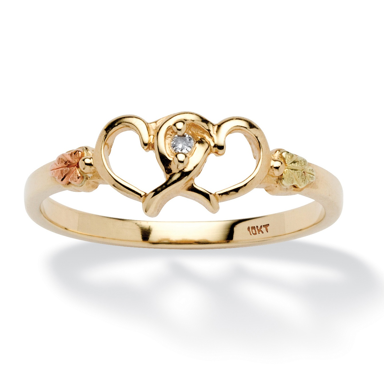 Round Diamond Accent Interlocking Hearts Ring in 12k Black Hills and 10k Gold