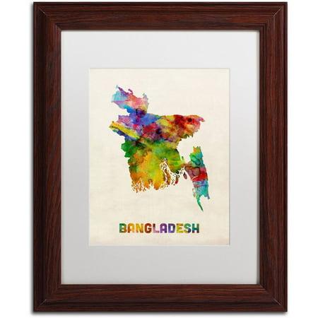 Trademark Fine Art 'Bangladesh Watercolor Map' Canvas Art by Michael Tompsett, White Matte, Wood Frame