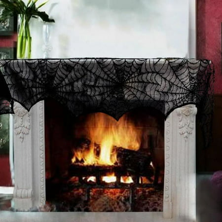 Halloween Door Decorations Ideas Pinterest (Cobweb Fireplace Scarf Mysterious Lace SpiderWeb Mantle Lace Runner Fireplace Scarf Festive Supplies for Halloween Christmas Party Door Window Decoration)