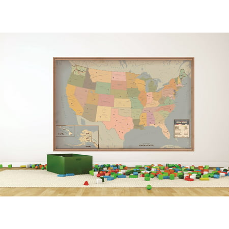 Decal Wall Sticker : Colorful United States Of America Us Map Classroom School Learning Teaching 12x18 Inches