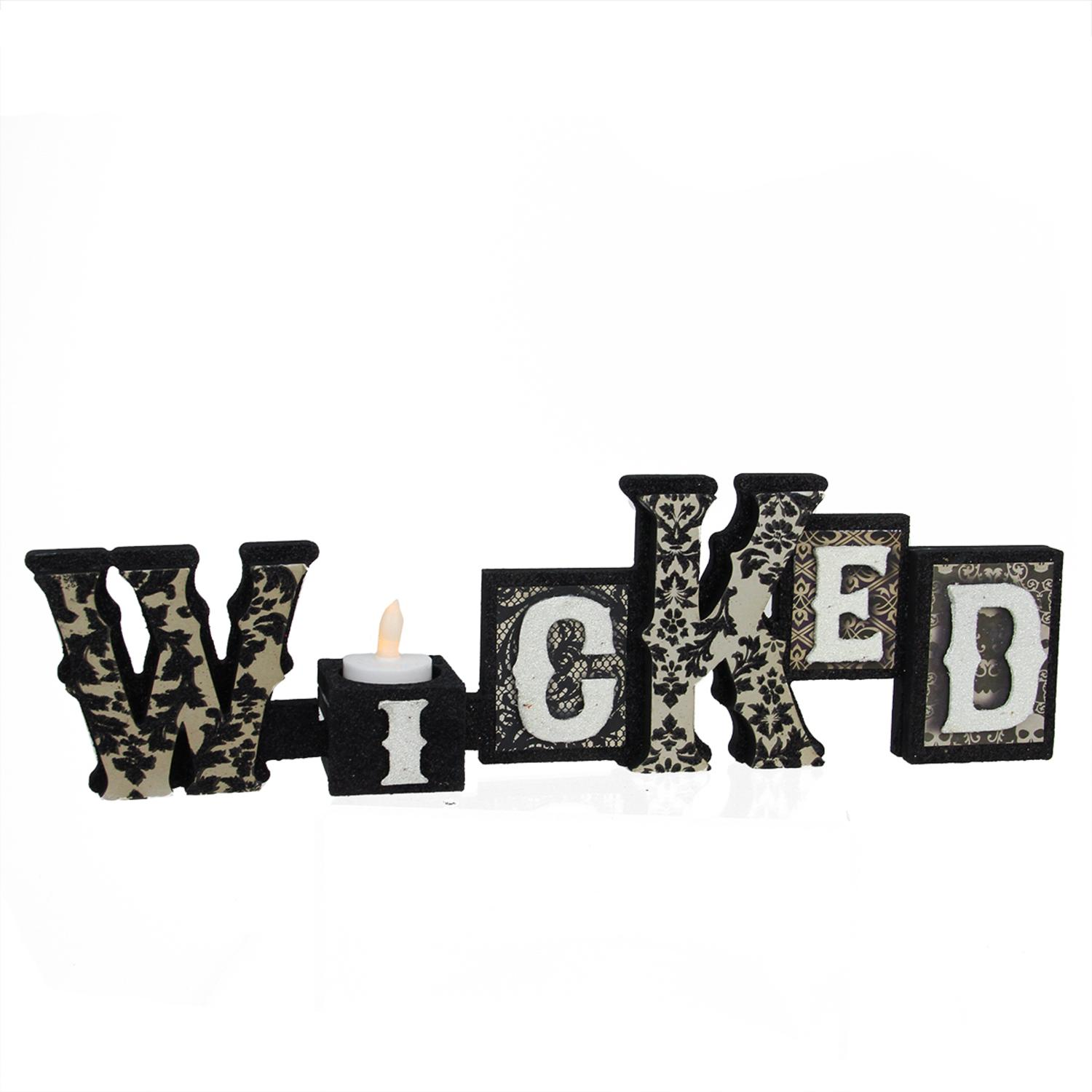 "16`"" Black and White Glittered ""Wicked"" Decorative Halloween Candle Holder by Allstate"