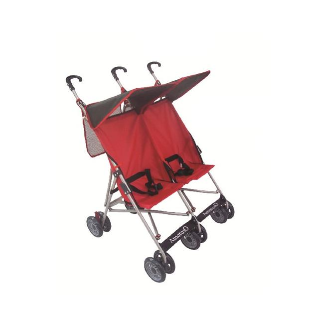 AmorosO 4232 Twin Umbrella Stroller - Red with Black