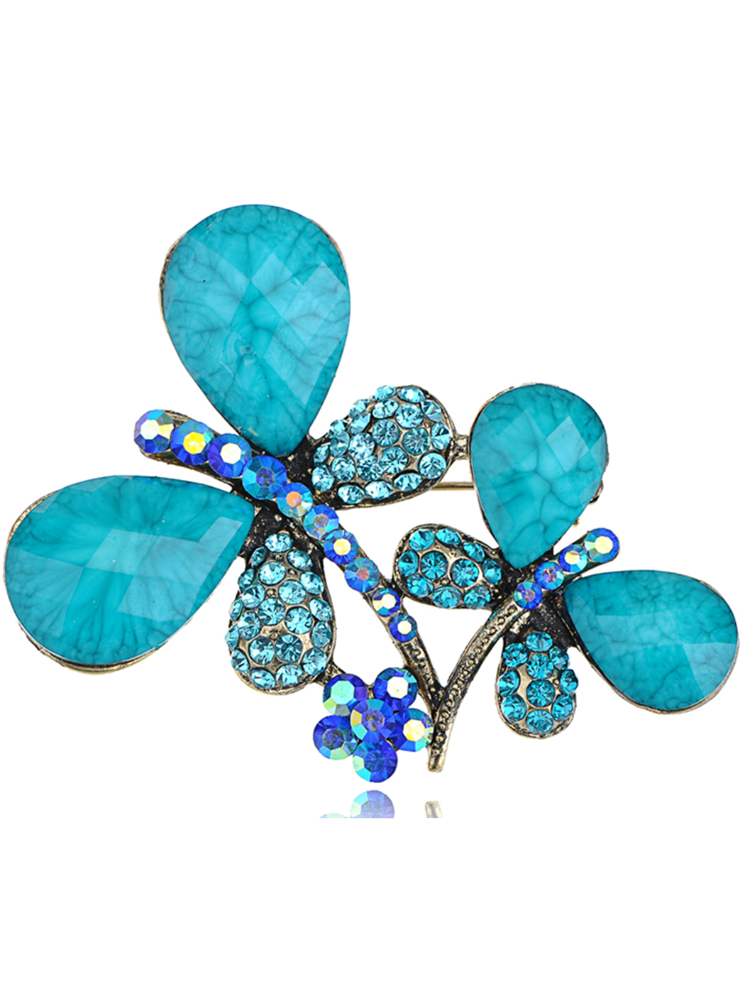 Turquoise Beaded Metallic Tone Blue Double Couple Dragonfly Costume Twins Brooch by