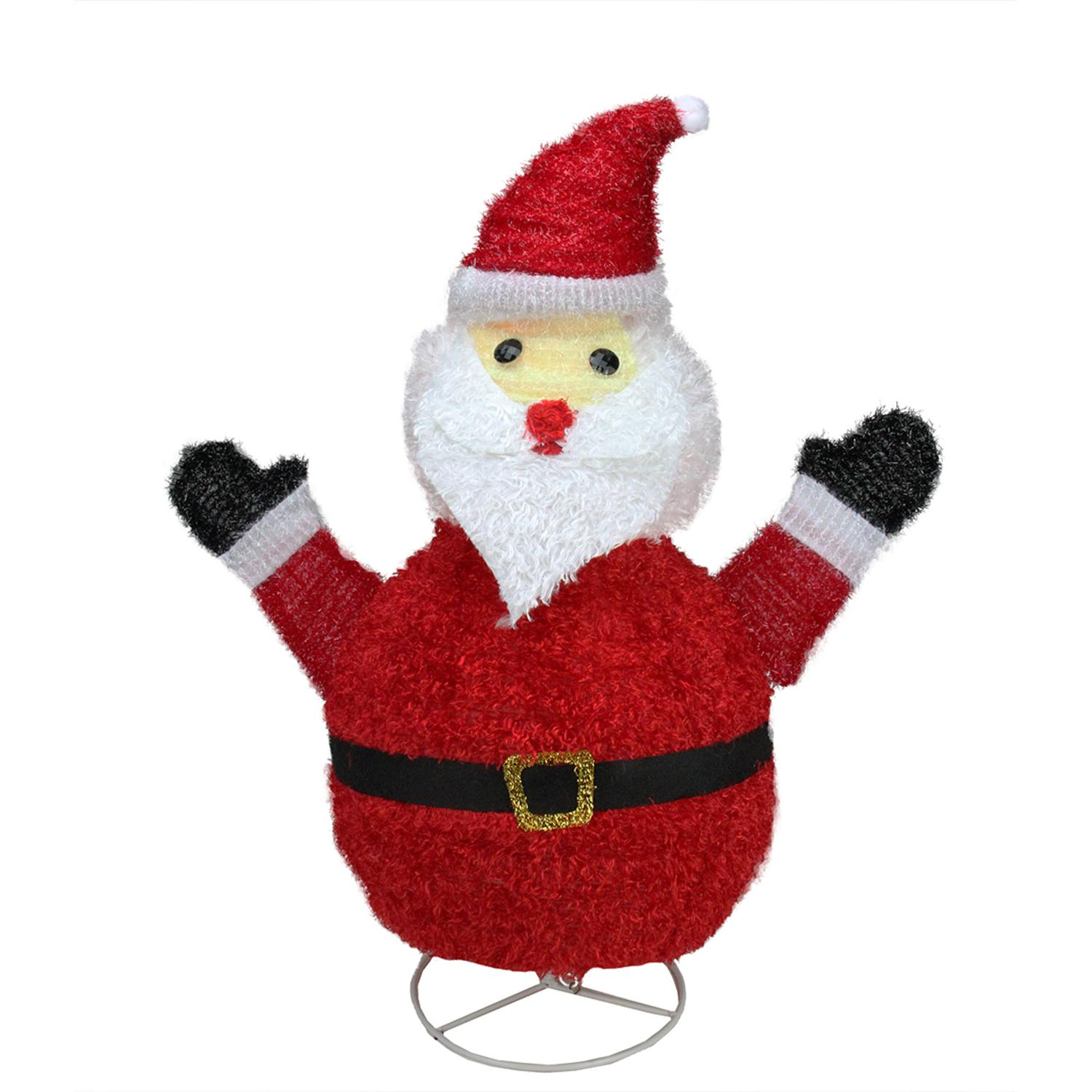 "32"" Pre-Lit Outdoor Chenille Santa Claus Christmas Yard Art Decoration"