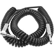 """Seismic Audio 20 Foot Coiled Guitar Instrument Cable Right Angle 1/4"""" TS to Straight 1/4"""" TS - SAGCURLRT20"""