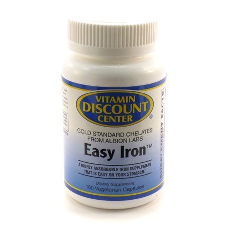 Easy Iron 25mg By Vitamin Discount Center - 180 Veg (Iron Free 180 Caps)