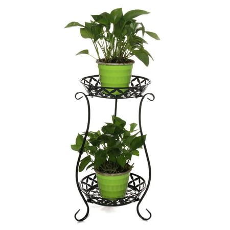 2 Tier Metal Plant Stand, Round Flower Pot Rack Planter Holder Modern For Garden Patio Indoor/Outdoor Black White Two Tier Flower Planter