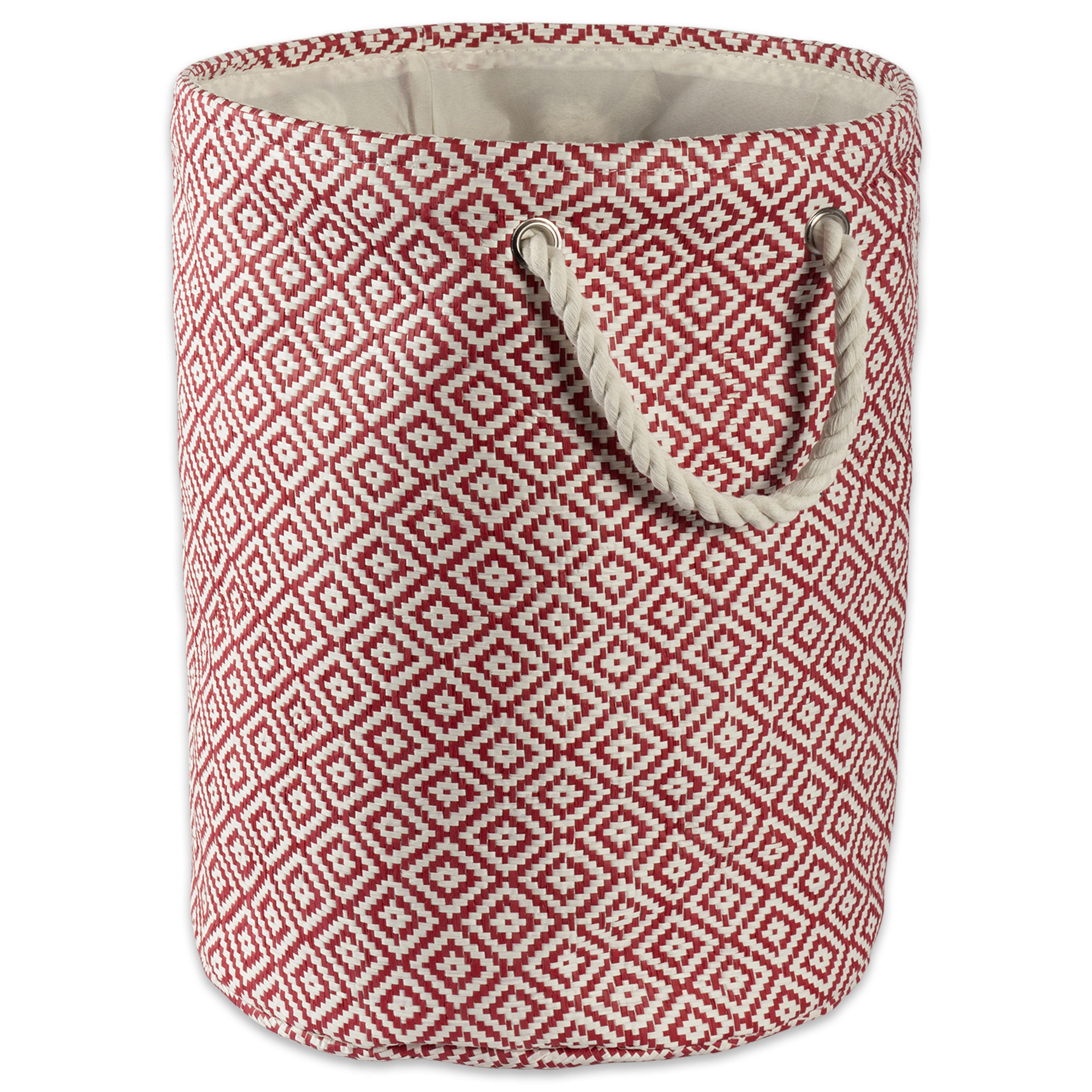 "Design Imports Paper Bin Geo Diamond Rust Round Small, 14""x14""x12"", 100% Natural Woven Paper, Red"