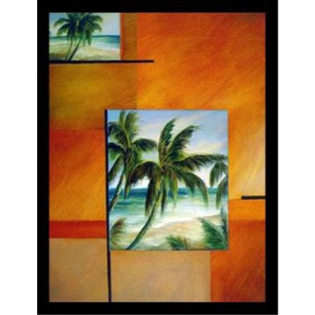 Framed Tropical Breeze Ii 24X18 Art Print Poster Palm Trees Ocean Beach Abstract