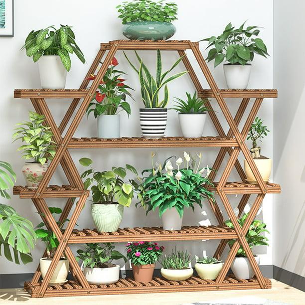 Wooden Plant Stand Shelf 6 Tier Shelves, Outdoor Plant Shelves