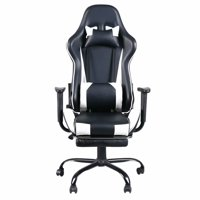 High Back PU Leather Swivel Gaming Chair with Adjustable Lumbar Support Headrest Footrest Video Game Chair Racing Office Chair (White)