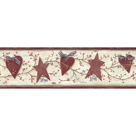 Heart Wallpaper - Brewster Home Fashions Pure Country Dorothy Star Heart Sprig 15' x 6'' Floral 3D Embossed Border Wallpaper