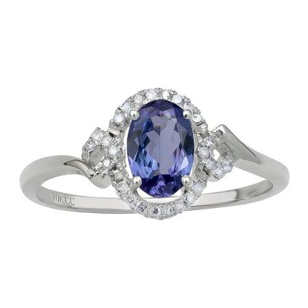 10k White Gold Oval Tanzanite and Halo Diamond Ring