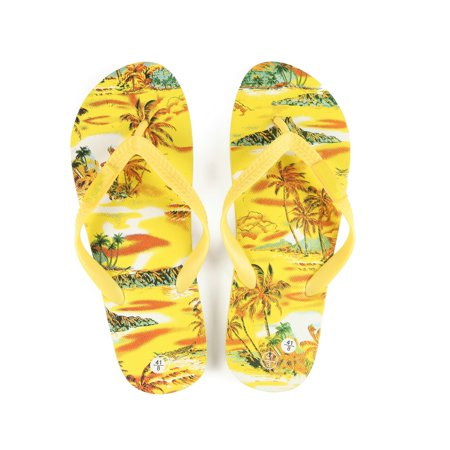 Hawaiian Print Sunset Beach Palm Hibiscus Wave Men Flip Flops Sandals in Yellow Sunset Size 9