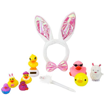 """Easter Bag full o' Goodys"" Gift Set Includes Bunny Ear and Bowtie Set, Light Up Duck, Light Up Bunny Pen, Solar Powered Dancing Duck, Squeeze Ball, Bunny/Chick Wind Up Toy with 4 Easter Rubber Ducks"