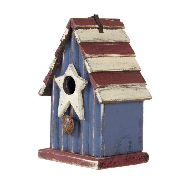 "Glitzhome 9.06""H Rustic Patriotic Garden Distressed Wooden Decorative Bird House"