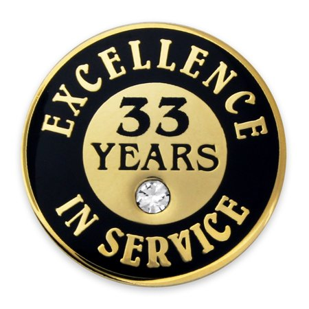 Gold Plated Excellence in Service Enamel Lapel Pin w/ Rhinestone - 33 Years (Plated Enamel Pin)