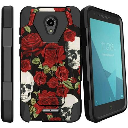 Alcatel Raven LTE / IdealXcite Hybrid Kickstand Case [Hybrid Case w/ Custom Printed Design Artwork] Dual-Layer Design Case w/ Built-in Kickstand for IdealXcite Phone - Red Rose Calavera (Red Raven Cosplay)