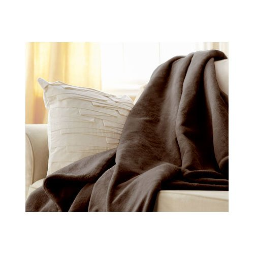 Sunbeam Electric Heated Throw Blanket Velvet Plush Washable with 3-Heat Setting Auto-Off Controller, ( Brown Rythem)