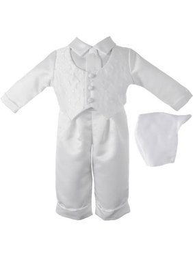 Boys Diamond Embroidered Vest with Satin Pant Set and Coordinated Hat (Baby Boy)