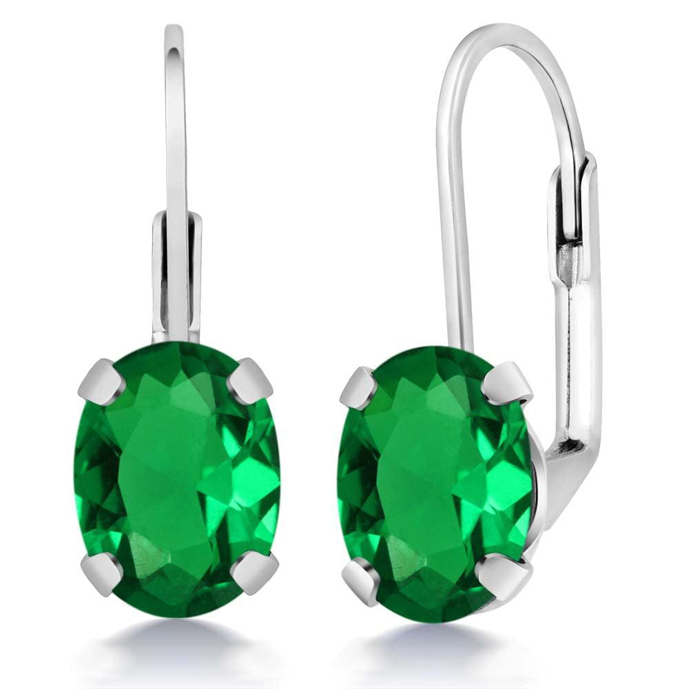 2.30 Ct Oval Green Nano Emerald 925 Sterling Silver Earrings