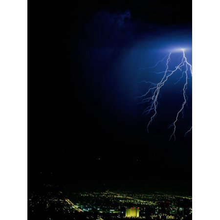 Lightning Storms Over the San Fernando Valley, Los Angeles, California, USA Print Wall Art By Jan Stromme ()