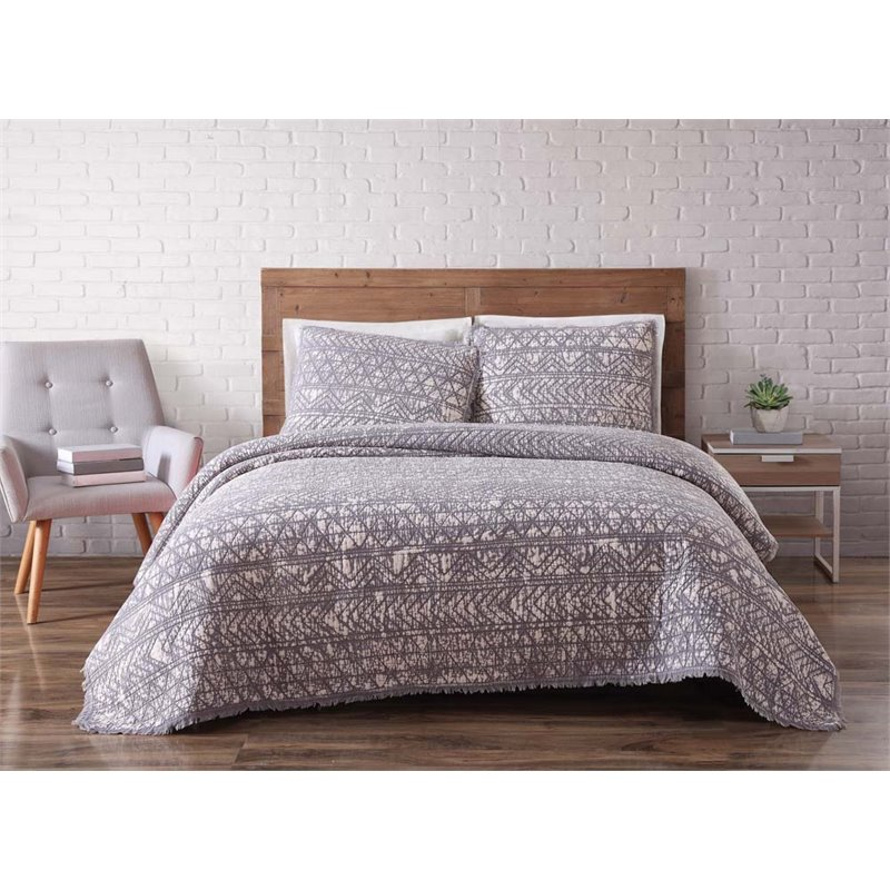 Brooklyn Loom Sand Washed Cotton Twin XL Quilt Set in Frost Gray