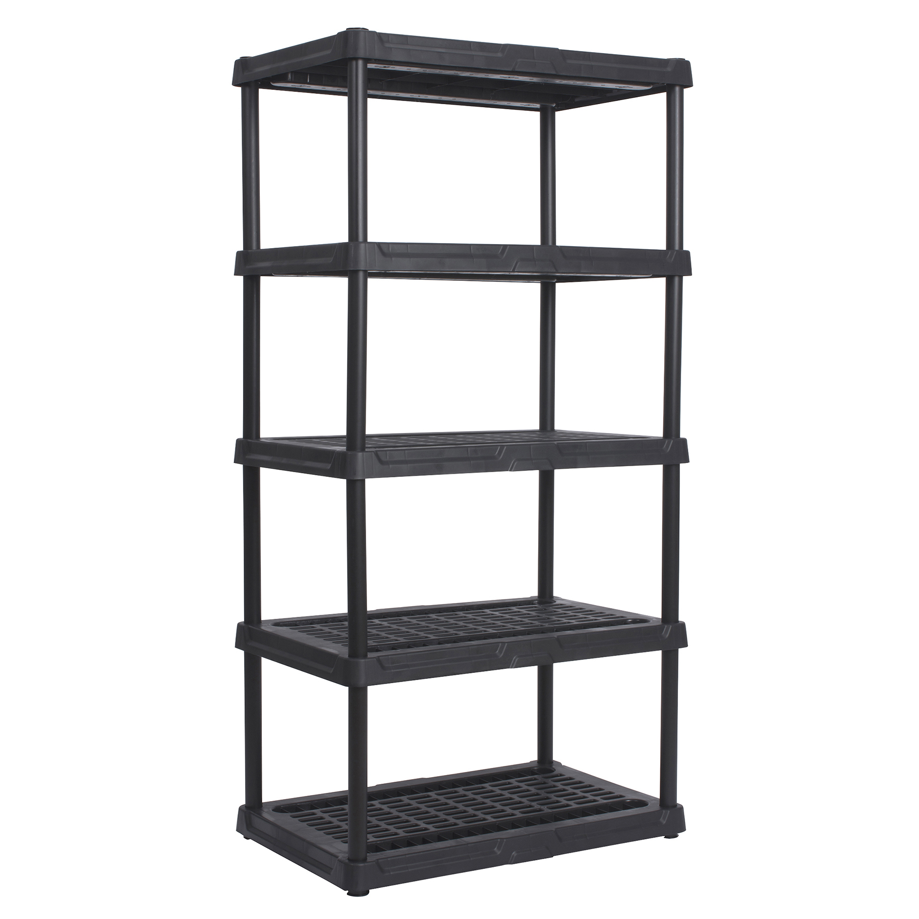 """Continental Commercial Products 3618BK5 36"""" X 18"""" X 72"""" Black Ventilated Resin 5-Tier Shelf"""